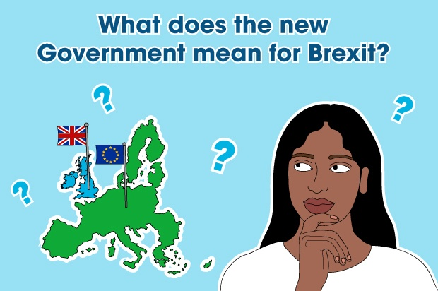 "Illustration of a young woman looking at a map of Britain and Europe. The text above reads: ""what does the new government mean for Brexit?"""