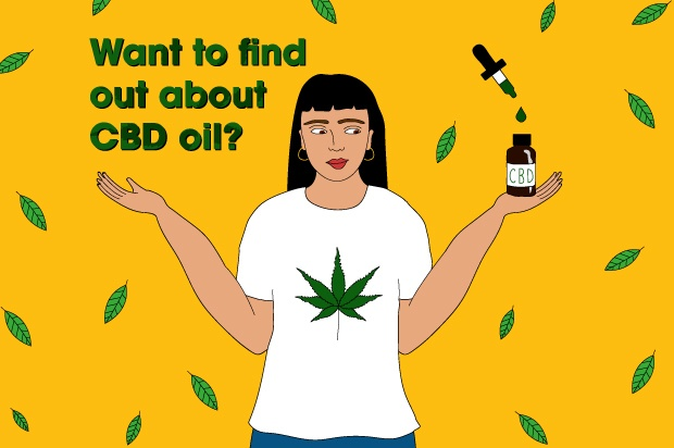 "An illustration of a young woman against a yellow background holding a bottle of CBD oil. The text abover her reads: ""Want to find out about CBD oil?"""