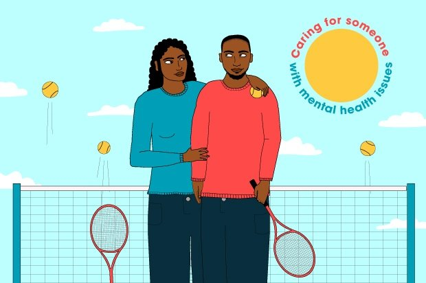 An illustration of two people at a tennis court holding rackets. One has her arm around the other.