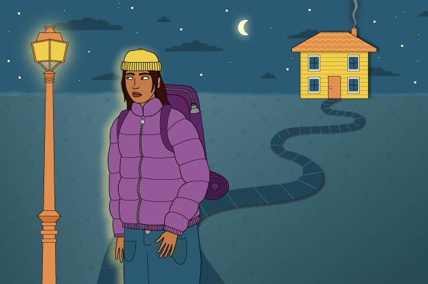 Illustration shows a young person in a purple jacket and a yellow hat. They are walking away from a house at night time