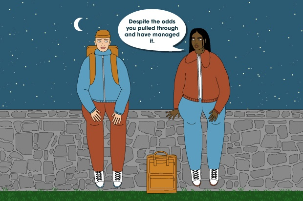 "Illustration shows two young people sitting on a wall at night talking, both are carrying bags. The speech bubble reads: ""Despite the odds you pulled through and have managed it"