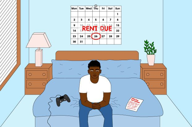 Illustration shows a young person sitting on the edge of their bed. Behind them is a calendar showing that rent is due in a few days.