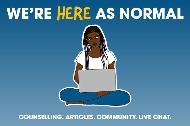 Illustration shows a young woman on her laptop. The text above reads: We're here as normal