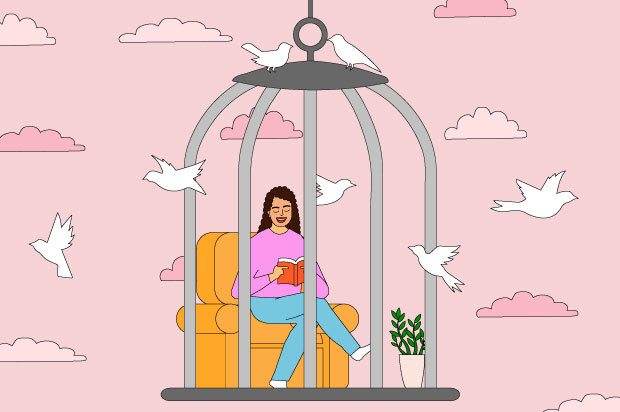 Illustration shows a young woman sitting on a sofa reading. She is in a cage with birds flying around her.