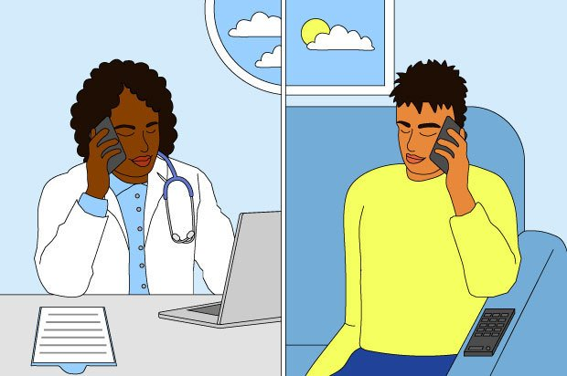 Illustration shows a young person having a phone conversation with their doctor