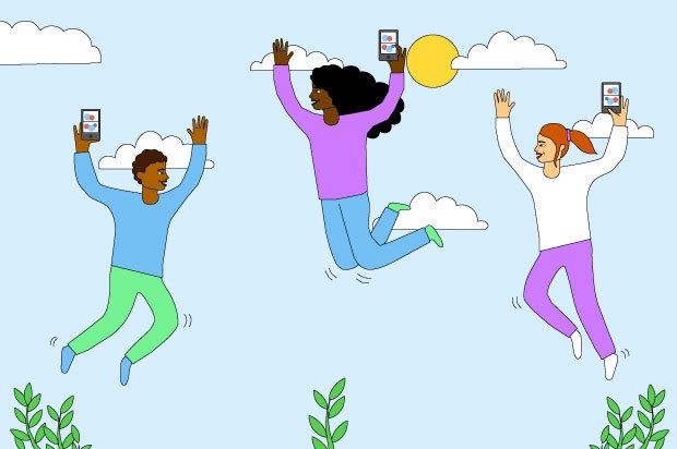 Three young people are jumping into the sky holding their phones, with happy expressions