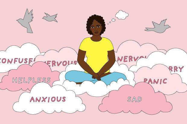 "A young woman sits on a cloud in a pink sky. The clouds she sits on say words such as ""anxiou"" and ""nervous"""