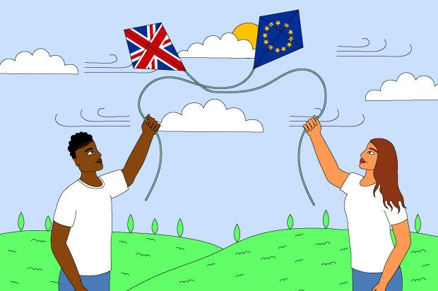 Illustration shows two young people flying kites; one is a Union Jack and one is an EU flag