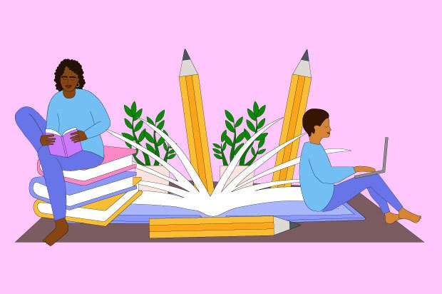 Illustration shows two young people studying. They are sitting on a giant book and behind them are huge pencils.