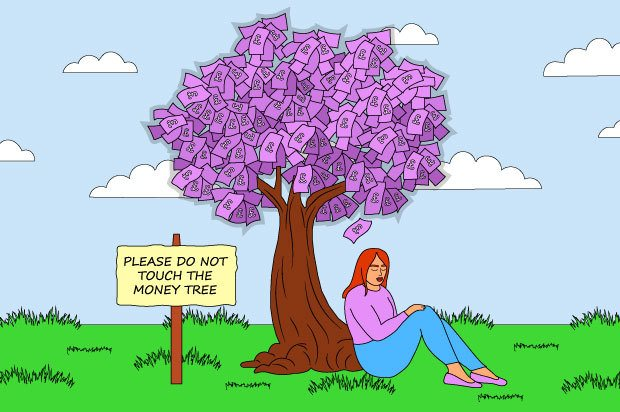 Illustration shows a young person sat by a money tree, next to a sign which says 'Do not touch the money tree'