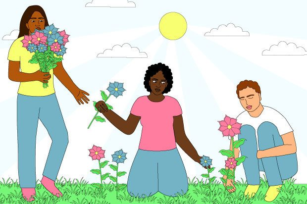 Illustration shows three young people picking flowers and handing them to one another
