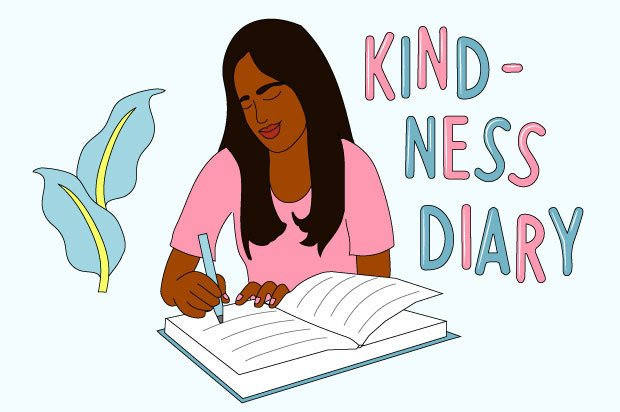 "Illustration shows a young person writing in a diary looking happy. The text above reads: ""Kindness Diary"""