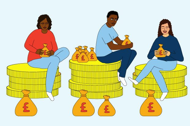 Illustration shows three young people sitting on piles of giant coins