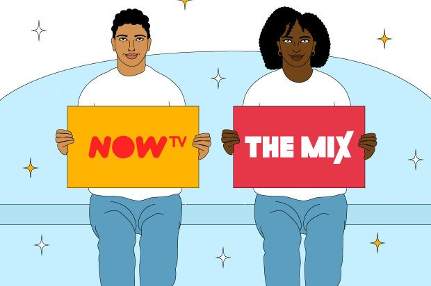 "Illustration shows two young people sitting on a sofa holding signs that say ""NOW TV"" and ""The Mix"""