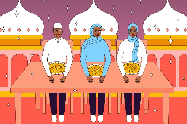 Illustration shows three young people about to feast for Eid