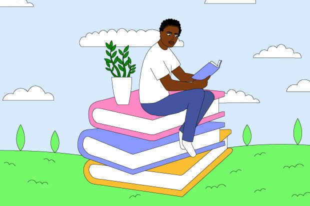 Illustration shows a young person sitting on a huge pile of books reading
