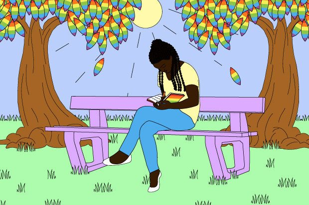 A young person sits on a bench writing in a notebook. The leaves in the trees above them are rainbow coloured.