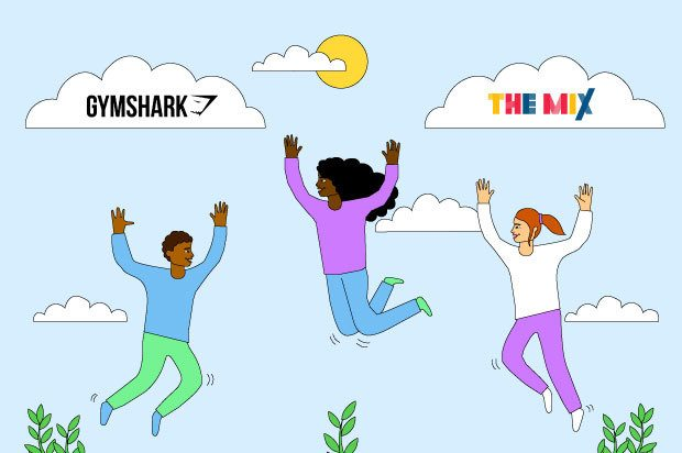 "Three young people are jumping in the air holding their phones. The clouds above them say ""Gymshark"" and ""The Mix"""