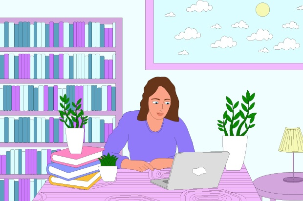 llustration shows a young person studying at home on a laptop, with a pile of books next to them