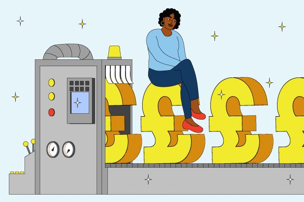 Illustration shows a money-making machine and a young person sitting on top of it