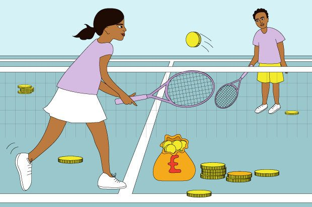 Illustration shows a young person and an older person playing tennis with coins. There are coins and money bags on the floor around them.