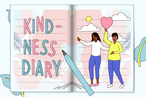 "Illustration shows two young people on the page of a diary (one is holding a heart. The other page says: ""Kindness Diary"""