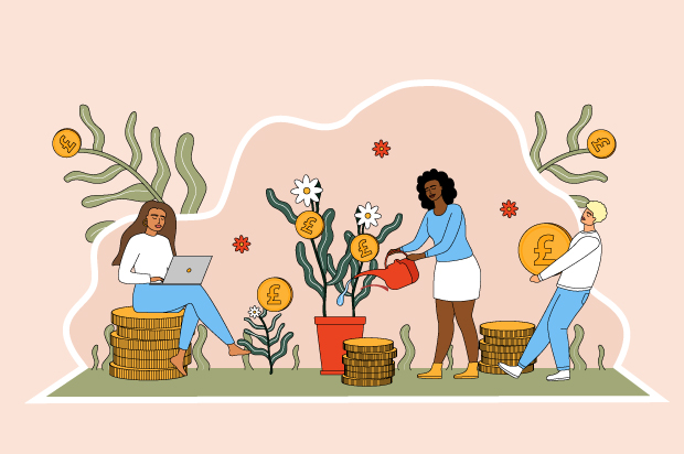 Illustration shows three young people young surrounded by money, with the middle person watering a money plant