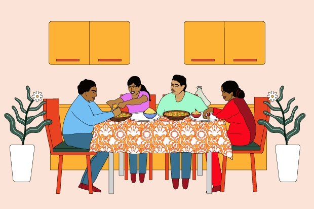 Illustration shows a South Asian family sitting around the dinner table