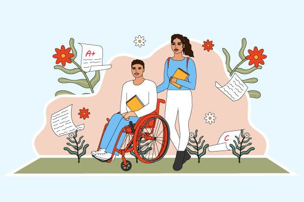 Illustration shows a young person in a wheelchair holding books, next to another young person who is also holding books.