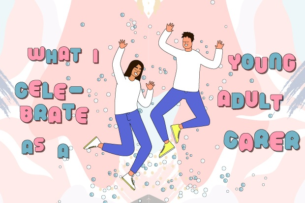 "Illustration shows two young people dancing for joy against a pink background. The text around them reads: ""what I celebrate as a young carer"""