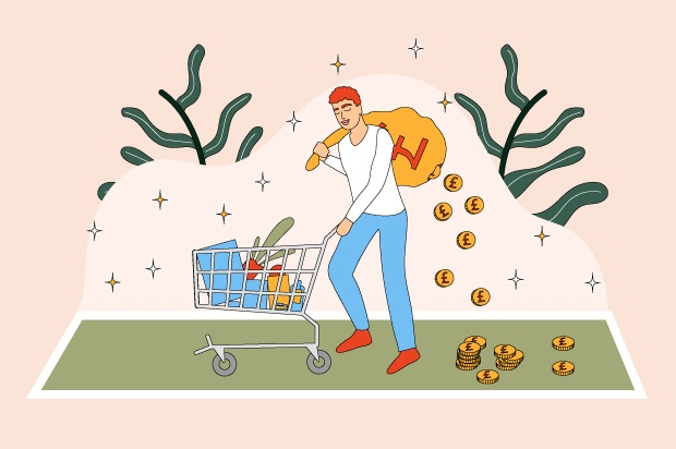 Illustration shows a young person shopping as money falls out of their bag behind them