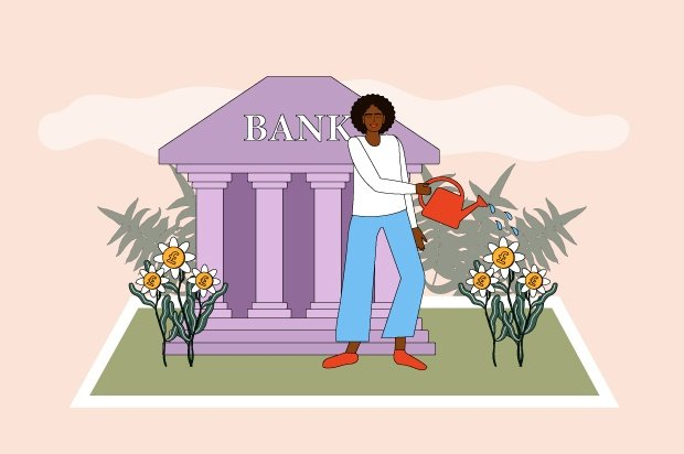 Illustration shows a young Person watering plants in front of a purple bank building.