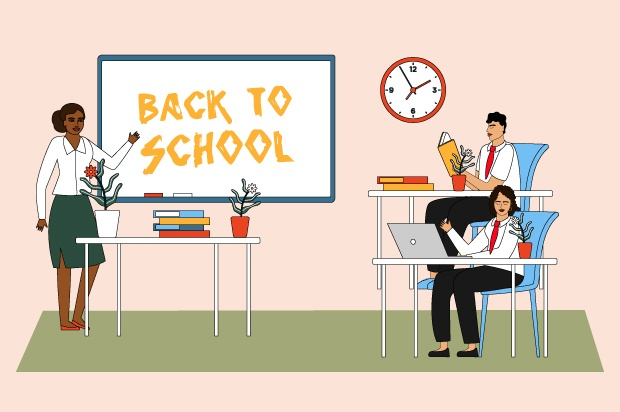 "Illustration shows young people in a classroom with a teacher. The board reads: ""back to school"""