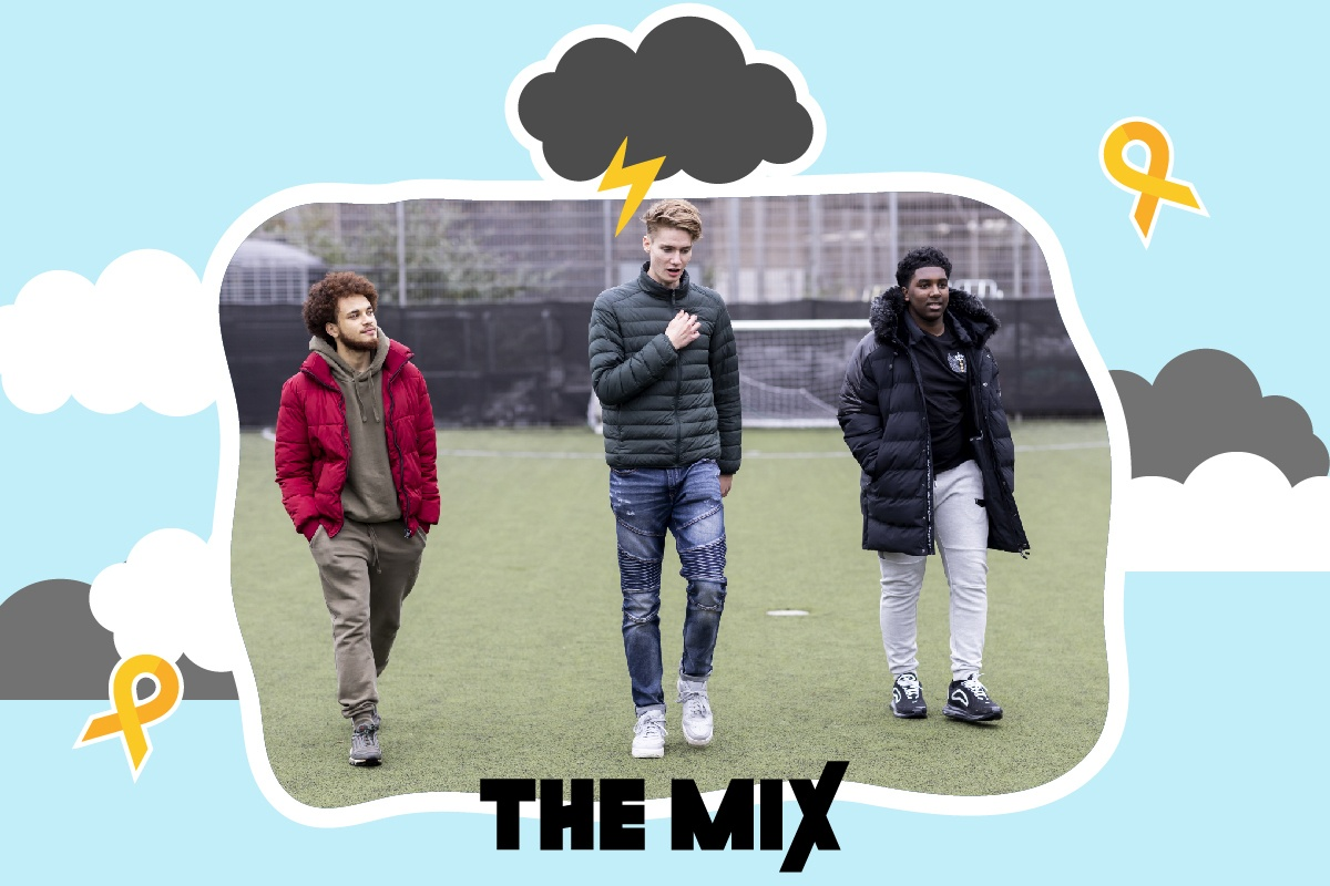 Graphic shows three young people walking across a football pitch. Above their heads is a cloud and a bolt of lightning