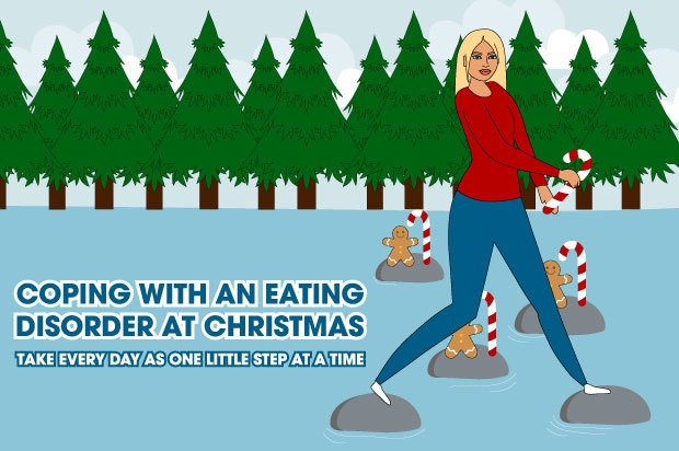 A young woman is jumping from stone to stone across a lake holding a candy cane. The text next to her reads: Coping with an eating disorder at Christmas