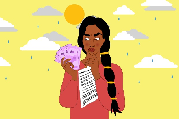 A young person is holding a handful of money in one hand and a will in the other. Behind them there is a sun and some rain clouds.