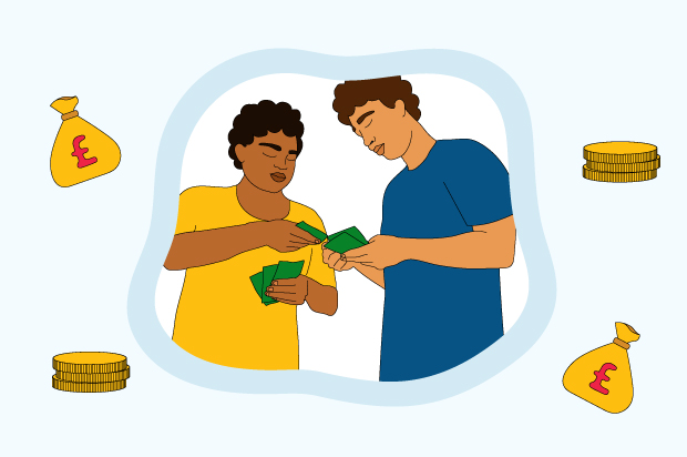 Two young people are talking and one is lending the other money