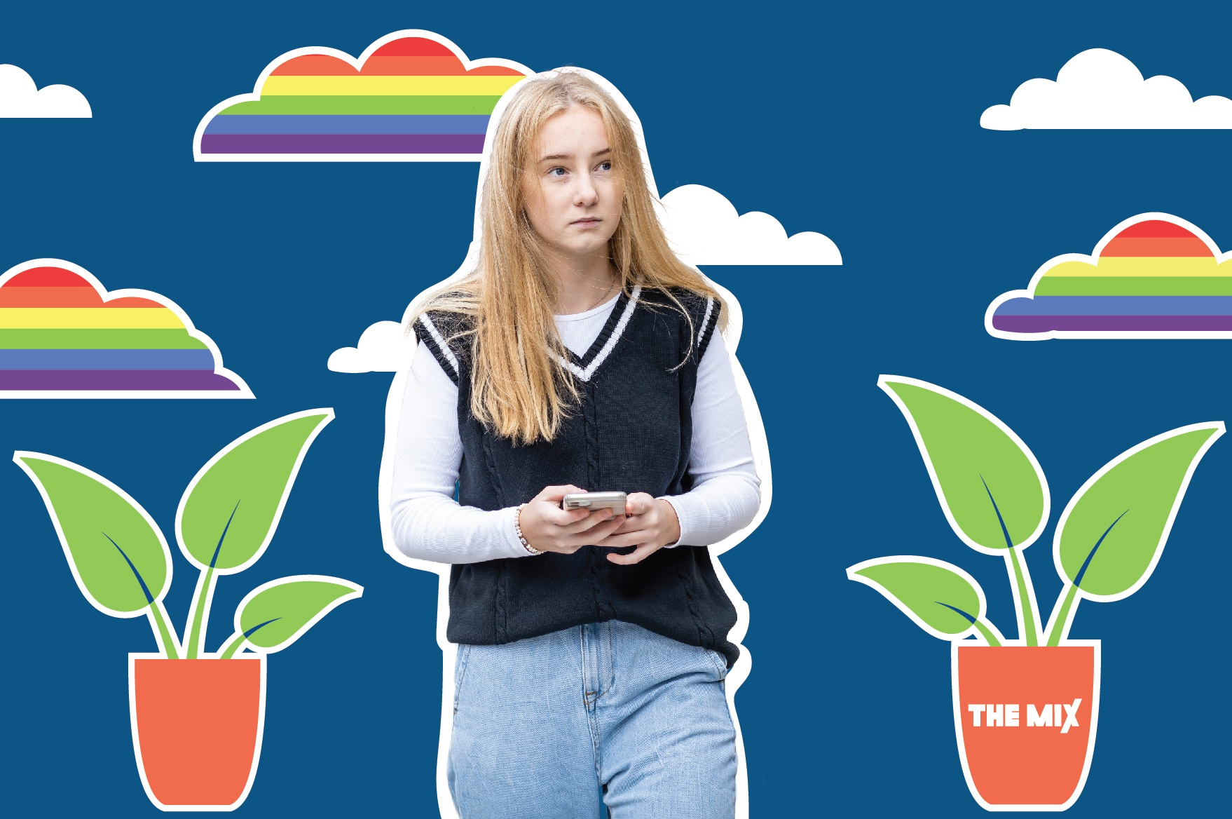 A young person is on their phone, with palnts and rainbow clouds in the background