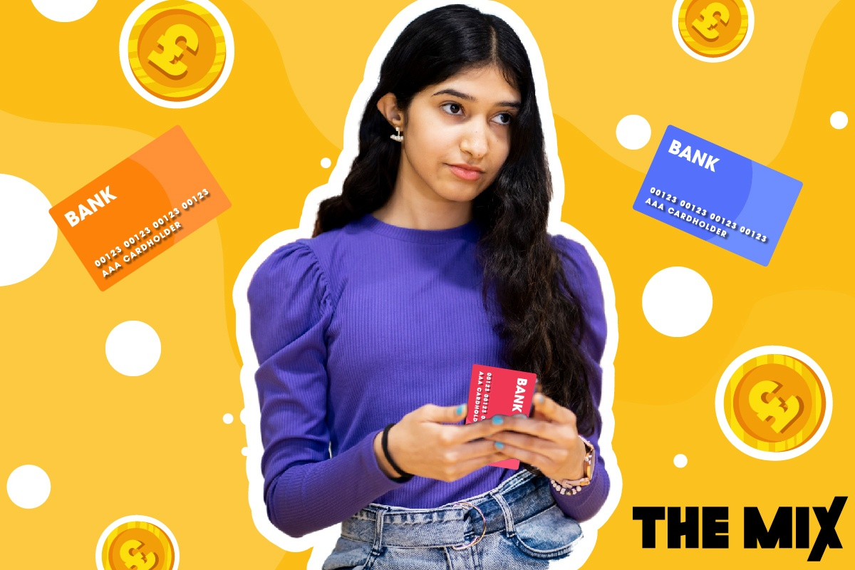 A young person is holding a credit card and the illustration shows lots of other credit cards surrounding her