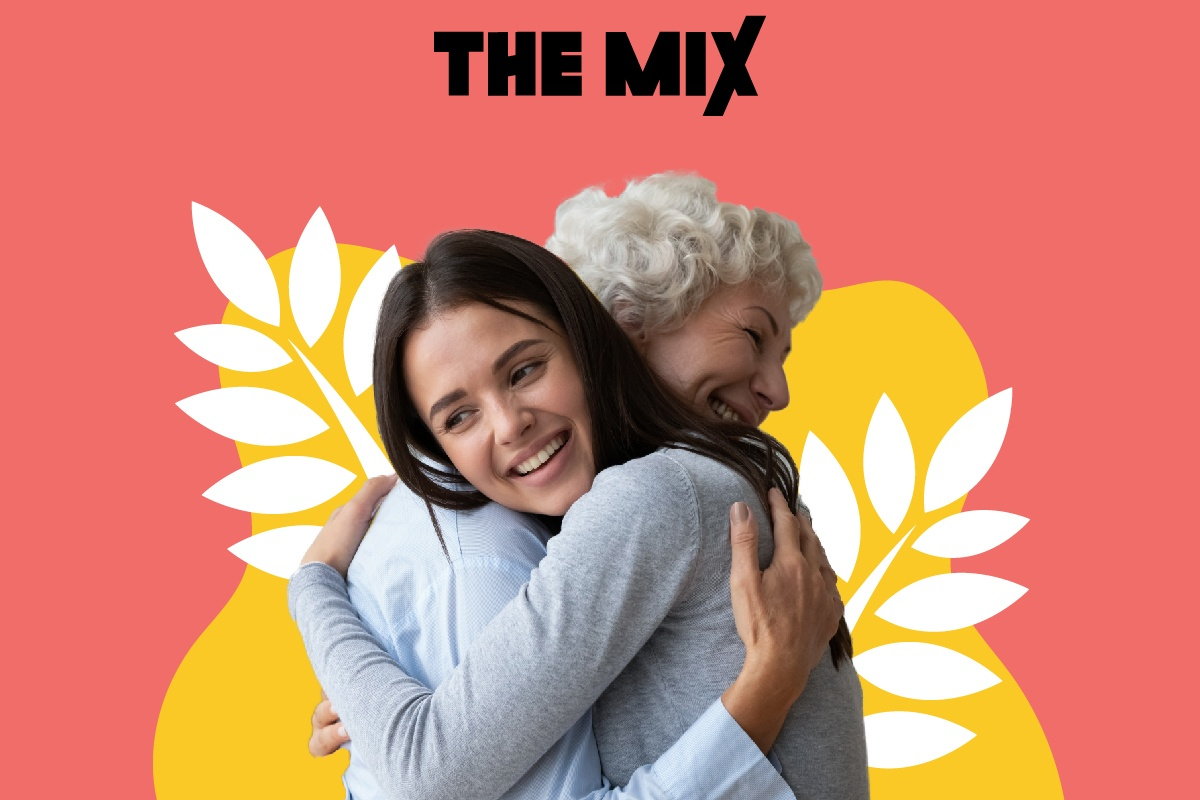 Graphic shows a young person and a an older person hugging - depicting a young carer and the person they care for