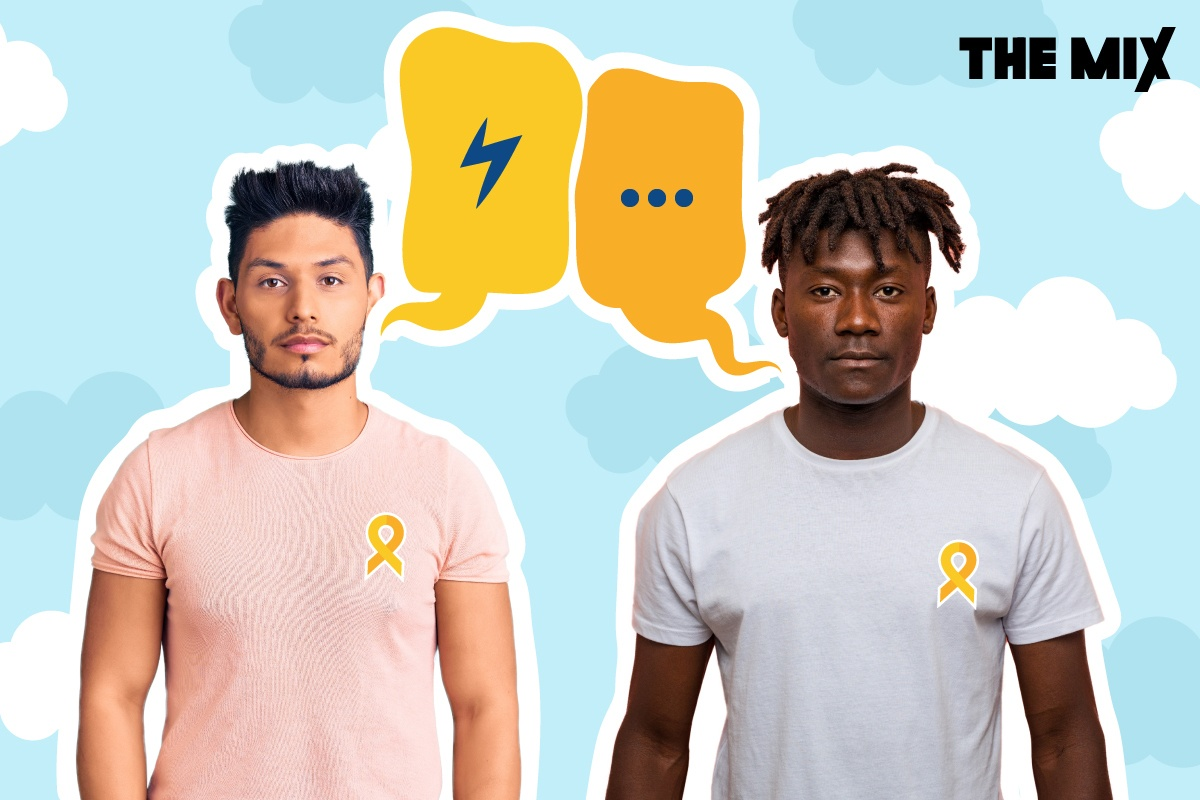 Two young men are standing facing forwards with speech bubbles above their heads representing a conversation about suicide.