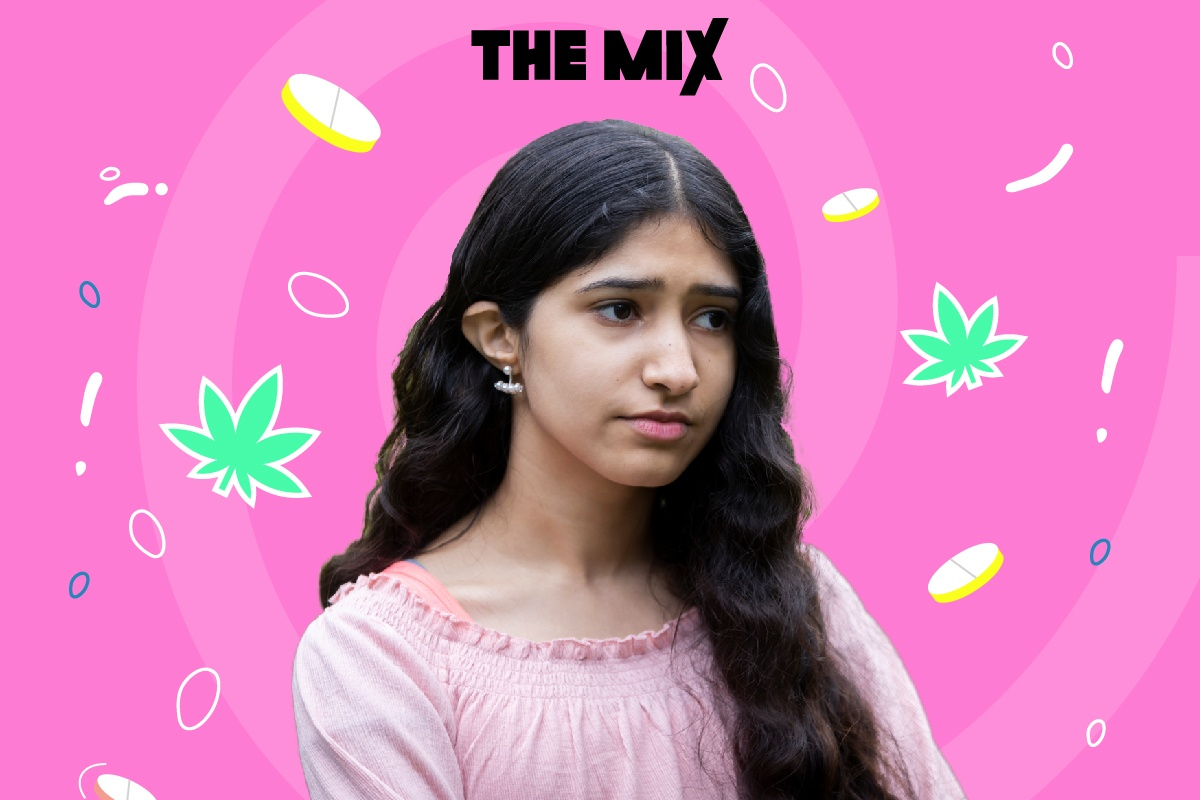 A young person is thinking about her perspective on drugs. She is against a pink background with pills and cannabis leaves in the background